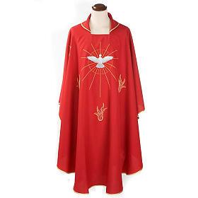 Casulla Espíritu Santo y llamas color rojo s1