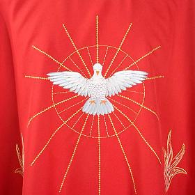 Casulla Espíritu Santo y llamas color rojo s3