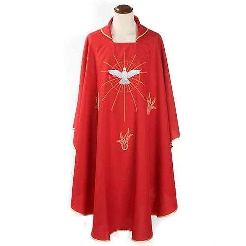 Casulla Espíritu Santo y llamas color rojo 1