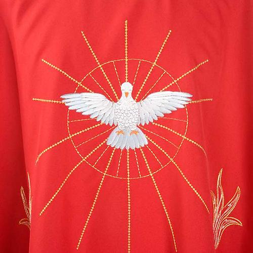 Casulla Espíritu Santo y llamas color rojo 3