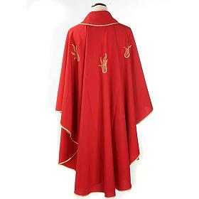 Chasuble rouge Saint Esprit et flamme s2