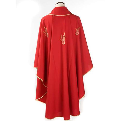Chasuble rouge Saint Esprit et flamme 2
