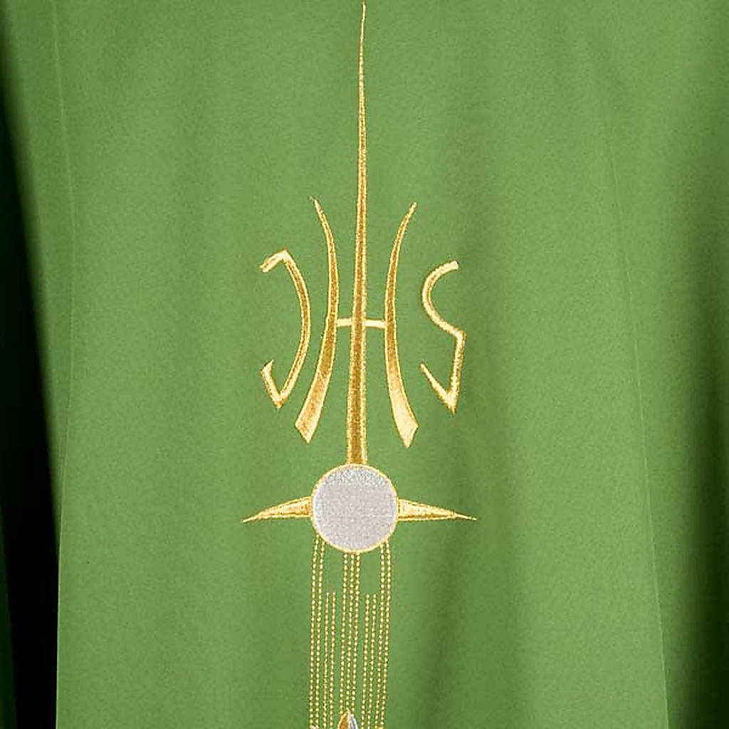 Liturgical vestment with IHS symbol, ears of wheat, chalice 4