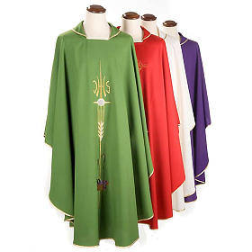 Liturgical vestment with IHS symbol, ears of wheat, chalice s1