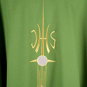 Liturgical vestment with IHS symbol, ears of wheat, chalice s4