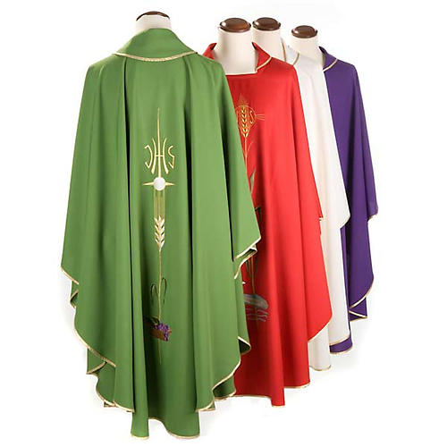 Liturgical vestment with IHS symbol, ears of wheat, chalice 2