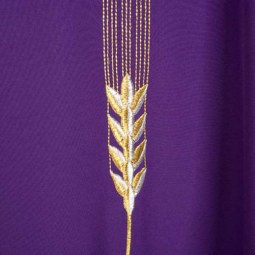 Liturgical vestment with IHS symbol, ears of wheat, chalice 7
