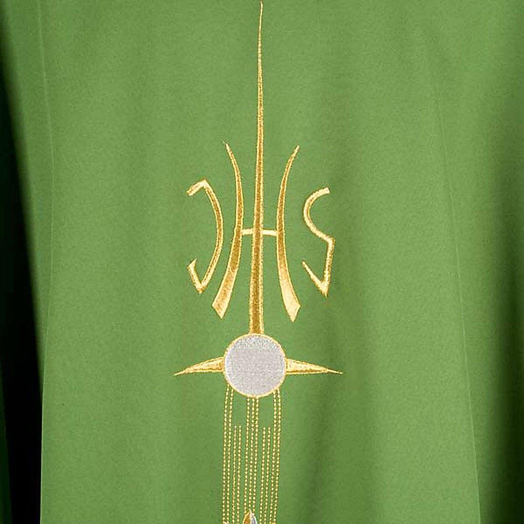 Casulla sacerdotal IHS espiga cáliz uva 4