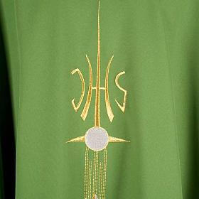 Casulla sacerdotal IHS espiga cáliz uva s4
