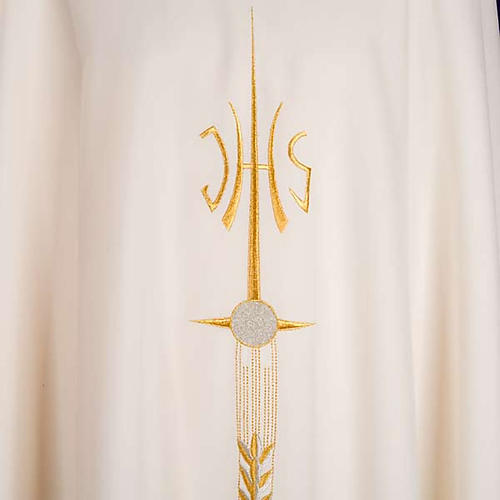 Casulla sacerdotal IHS espiga cáliz uva 5