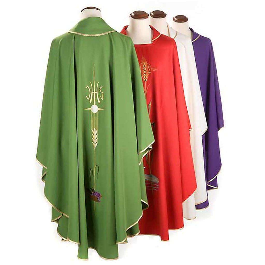 Latin Chasuble with IHS symbol, ears of wheat, chalice 4