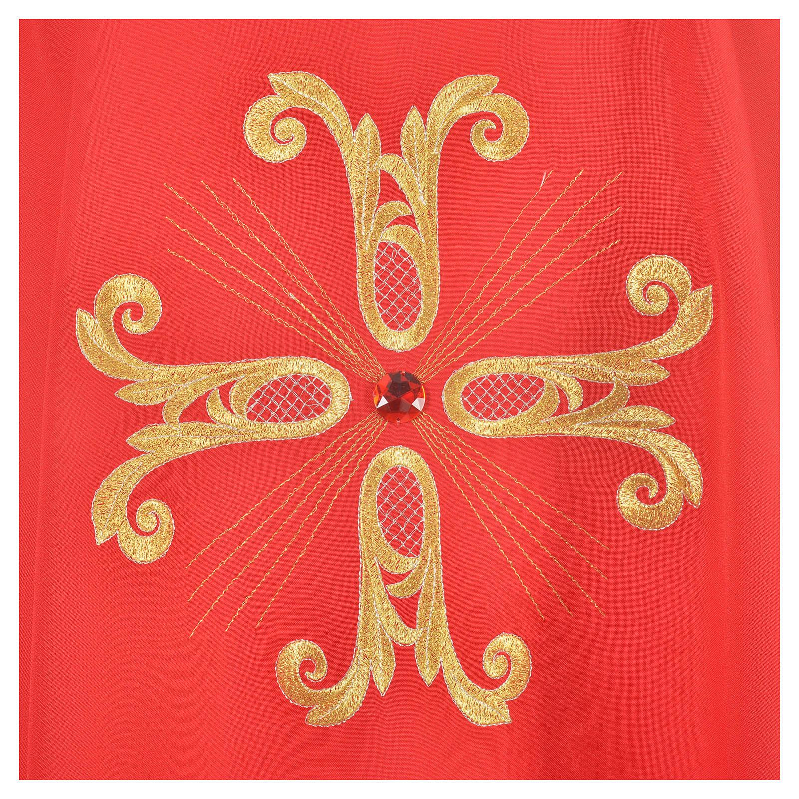 Casulla cruz dorada perlas de vidrio 4