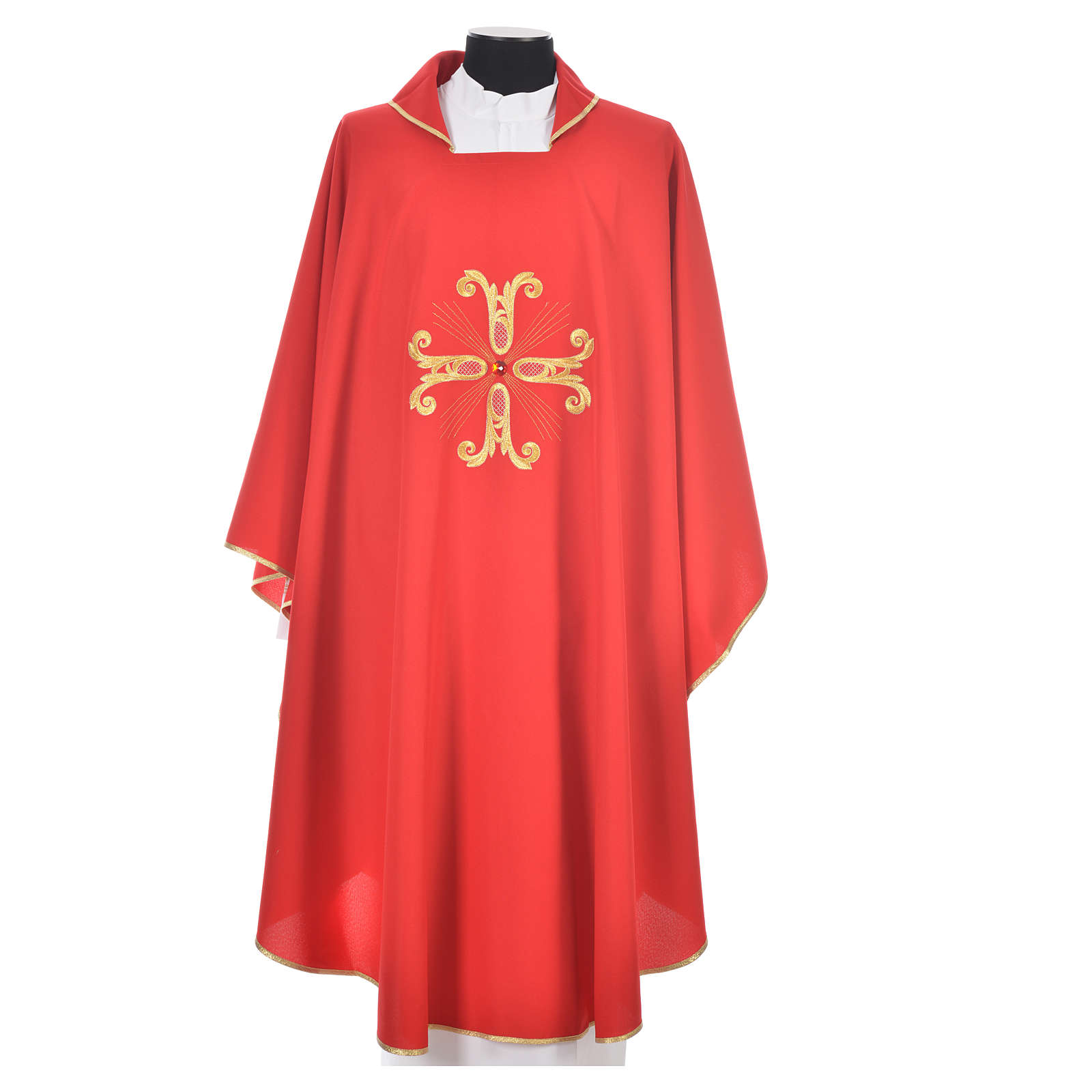 Catholic Chasuble with cross and glass pearl 4
