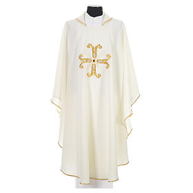 Catholic Chasuble with cross and glass pearl s4