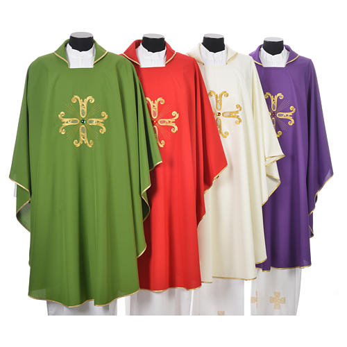 Catholic Chasuble with cross and glass pearl 1