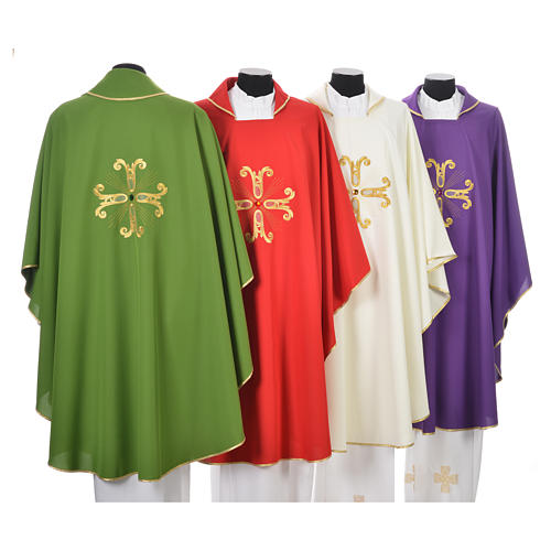 Catholic Chasuble with cross and glass pearl 2