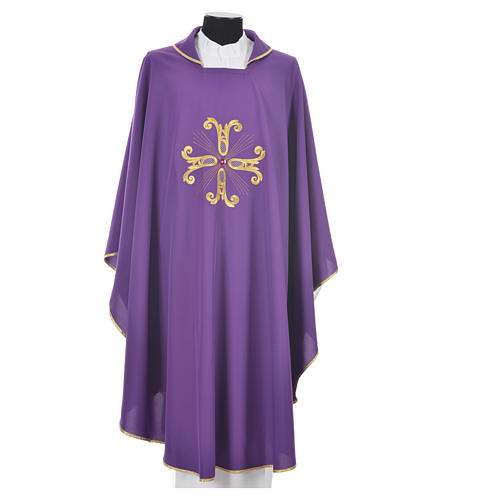 Catholic Chasuble with cross and glass pearl 3