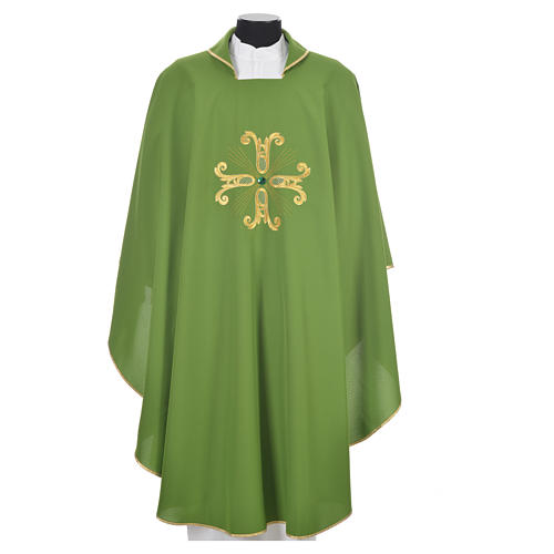 Catholic Chasuble with cross and glass pearl 6