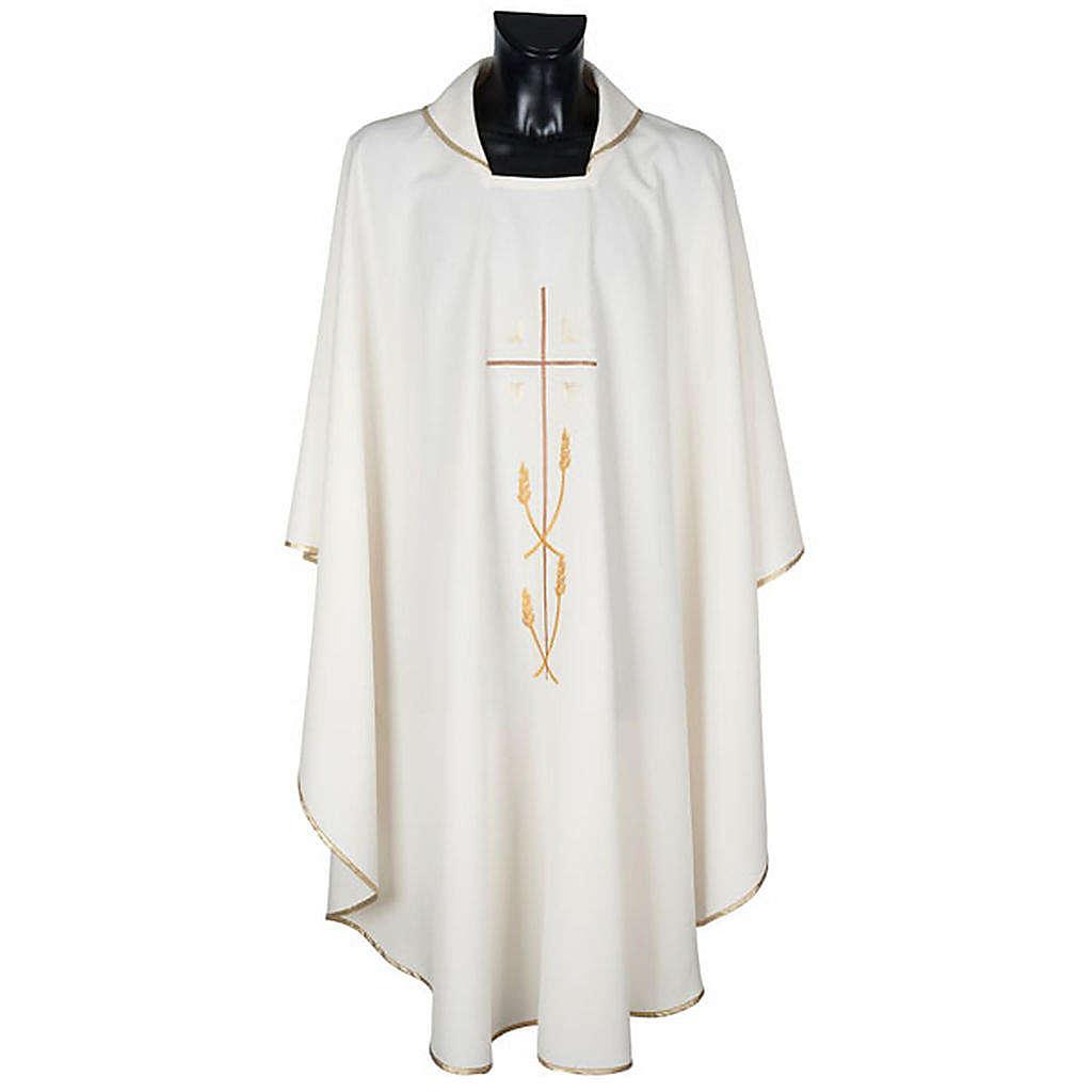Casulla litúrgica poliéster cruz dorada espigas 4
