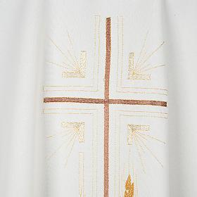 Casulla litúrgica poliéster cruz dorada espigas s2