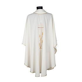 Casulla litúrgica poliéster cruz dorada espigas s4