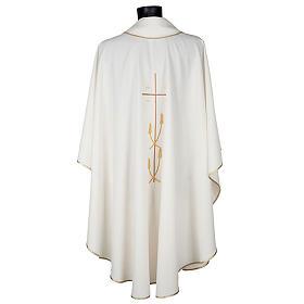 Casulla litúrgica poliéster cruz dorada espigas s5