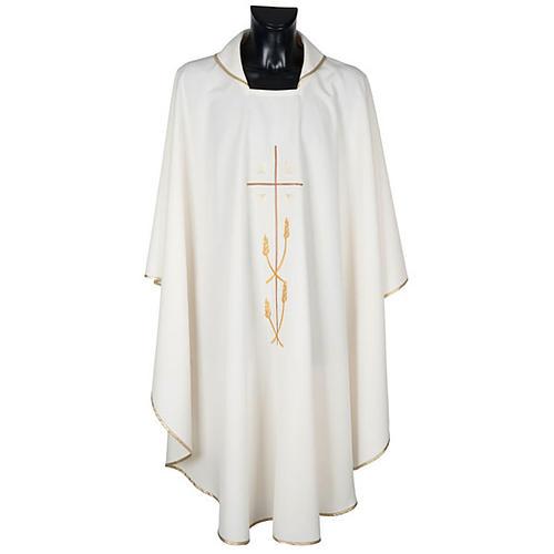 Casulla litúrgica poliéster cruz dorada espigas 1