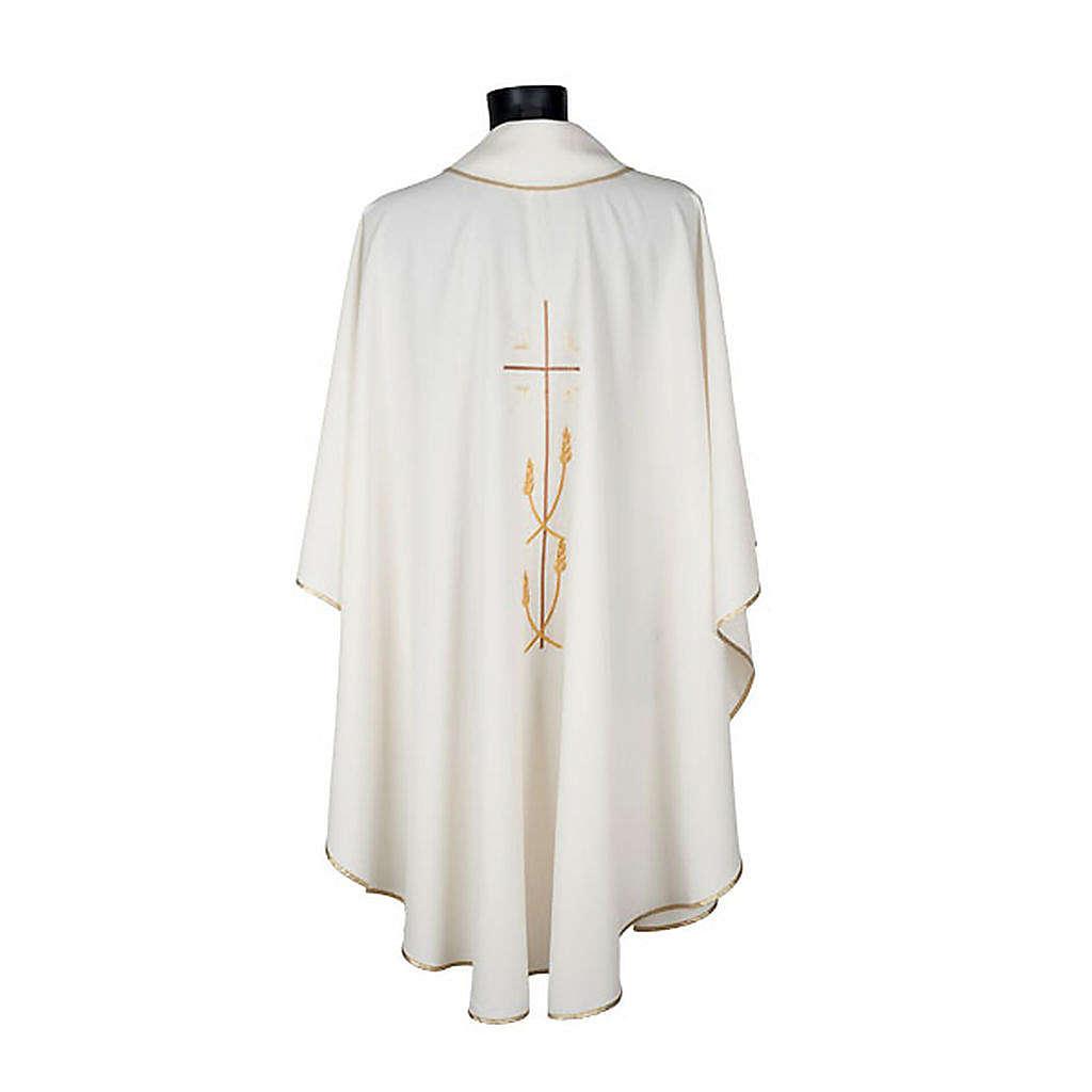Chasuble liturgique polyester croix dorée 4