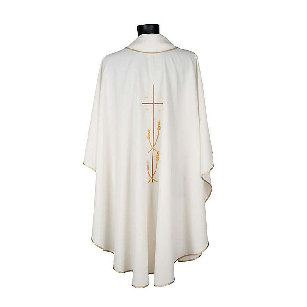 Casula liturgica poliestere croce dorata spighe 4