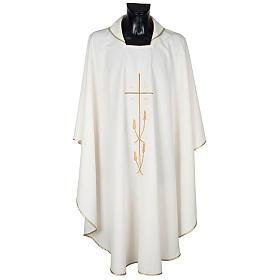 Casula liturgica poliestere croce dorata spighe s1