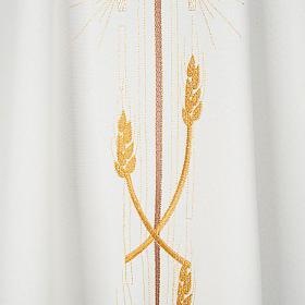 Casula liturgica poliestere croce dorata spighe s3