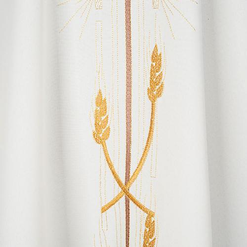 Casula liturgica poliestere croce dorata spighe 3