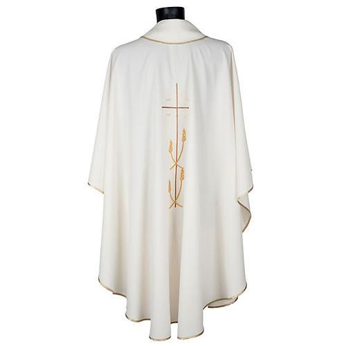Casula liturgica poliestere croce dorata spighe 5