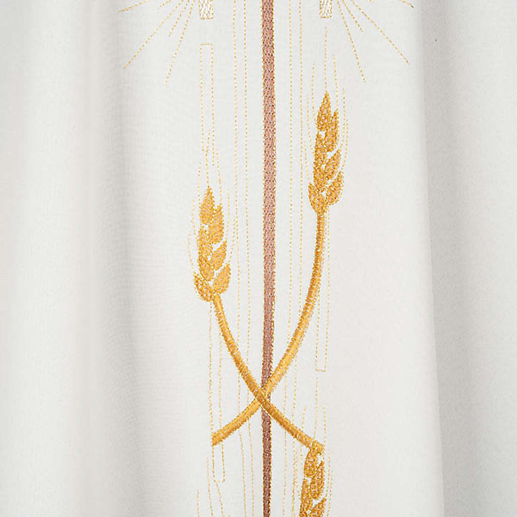 Monastic Chasuble in polyester with gold cross and ears of wheat 4