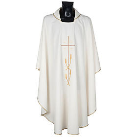 Monastic Chasuble in polyester with gold cross and ears of wheat s1
