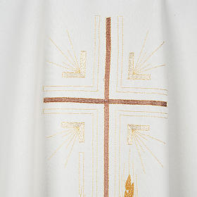Monastic Chasuble in polyester with gold cross and ears of wheat s2