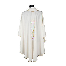 Monastic Chasuble in polyester with gold cross and ears of wheat s4