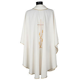 Monastic Chasuble in polyester with gold cross and ears of wheat s5