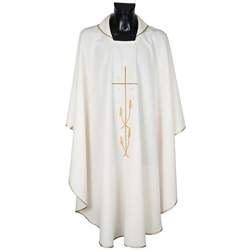Monastic Chasuble in polyester with gold cross and ears of wheat 1