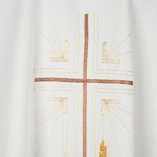 Monastic Chasuble in polyester with gold cross and ears of wheat 2