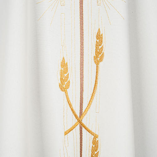 Monastic Chasuble in polyester with gold cross and ears of wheat 3