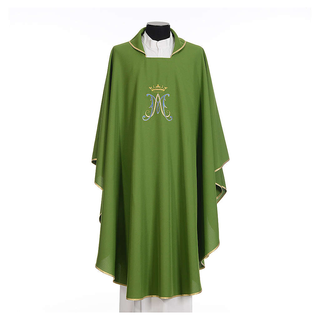 Marian chasuble in polyester with blue and gold embroidery 4
