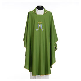 Marian chasuble in polyester with blue and gold embroidery s3