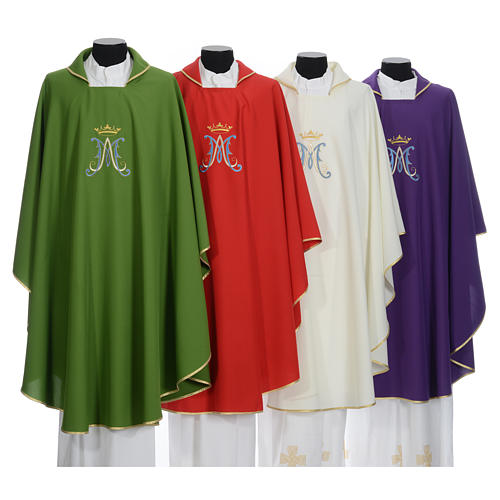 Marian chasuble in polyester with blue and gold embroidery 10