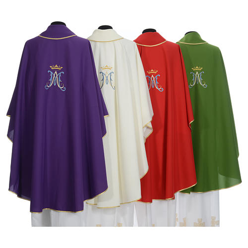 Marian chasuble in polyester with blue and gold embroidery 11