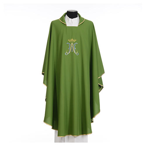 Marian chasuble in polyester with blue and gold embroidery 3