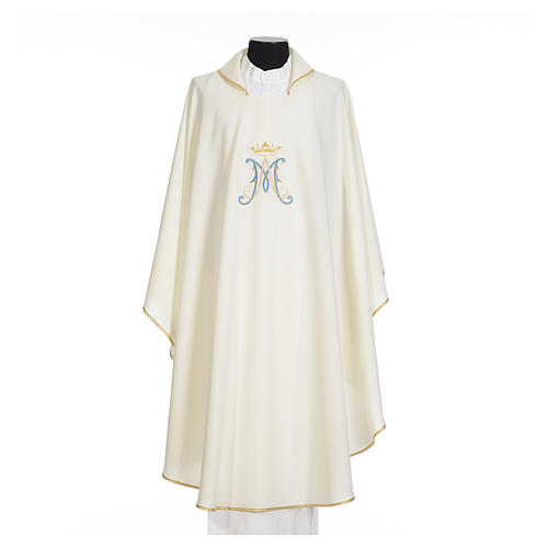 Marian chasuble in polyester with blue and gold embroidery 5