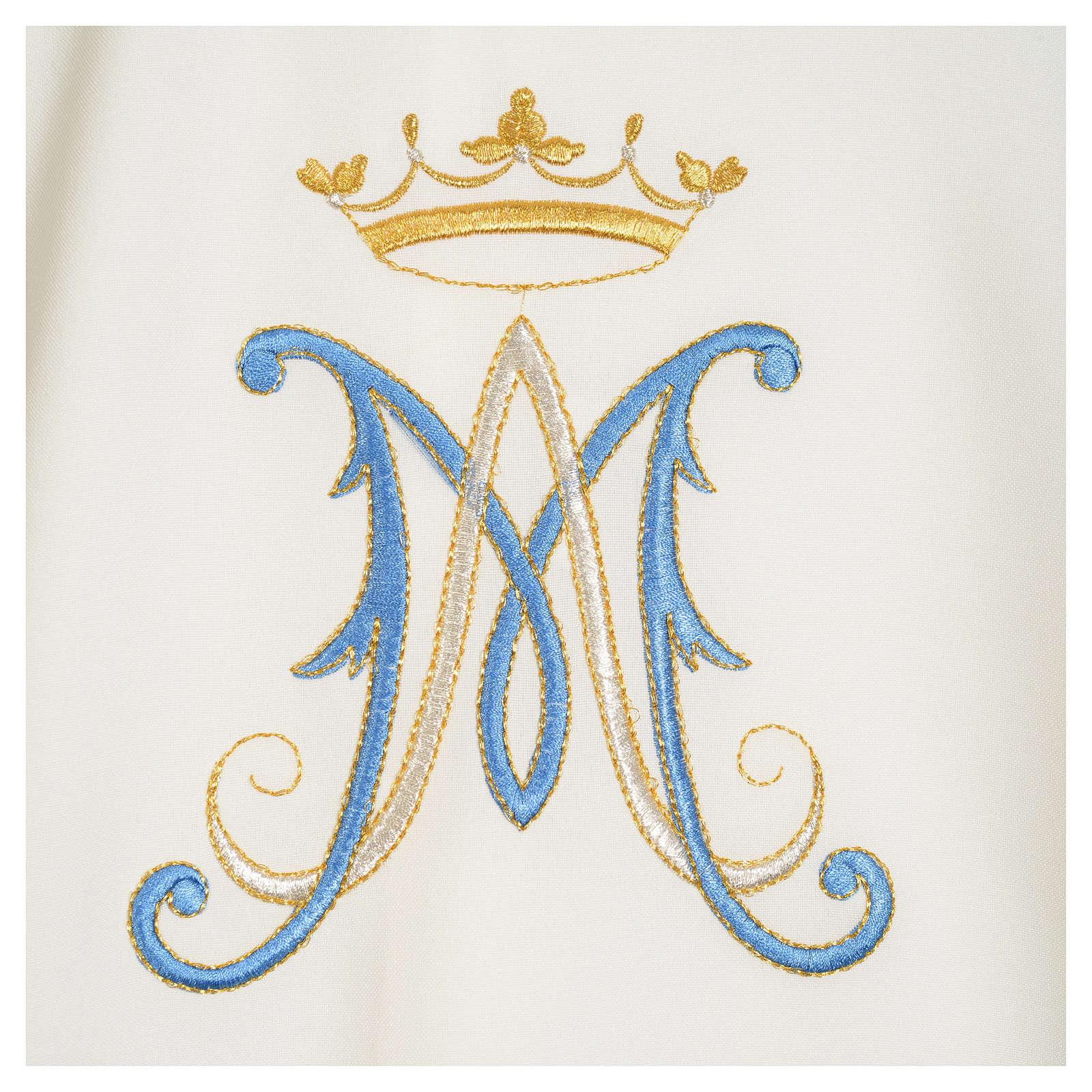 Casulla Mariana poliéster bordado azul y oro 4