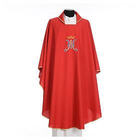 Casula mariana sacerdotale poliestere ricamo blu oro s13
