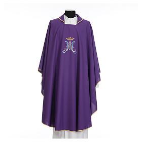 Casula mariana sacerdotale poliestere ricamo blu oro s16